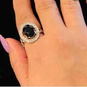 Jewelry - Black mood stone and rhinestone ringadjusts to fit